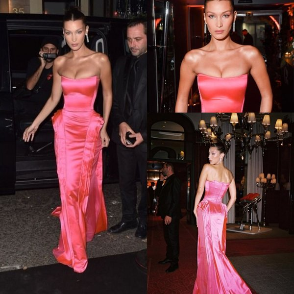 Hot Pink Strapless Prom Formal Dresses 2019 Bella Hadid Modest Ruffles Skirt Full length Red Carpet Celebrity Evening Party Gown Wear