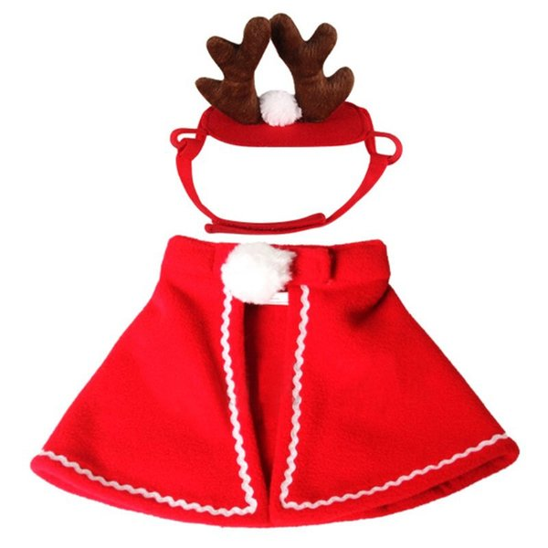 Christmas Clothes For Cat Pet Dog Costumes Product Cloaks Dogs Antlers Hats New Year for dogs