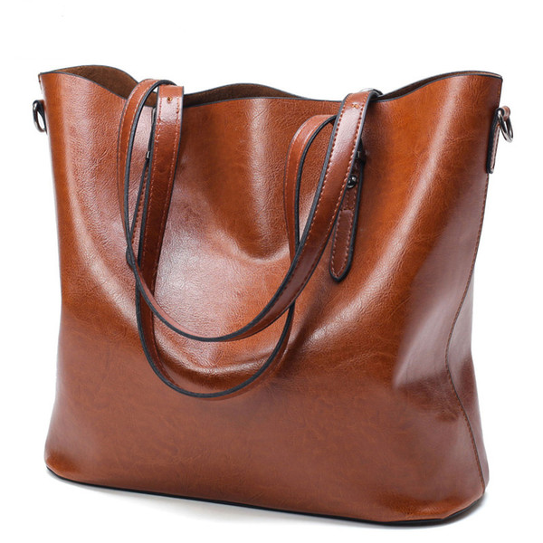 df631332f19c Women Handbag PU Oil Wax Leather Women Bag Large Capacity Tote Bag Ladies  Shoulder Big Bags Famous Brand Bolsas Feminina
