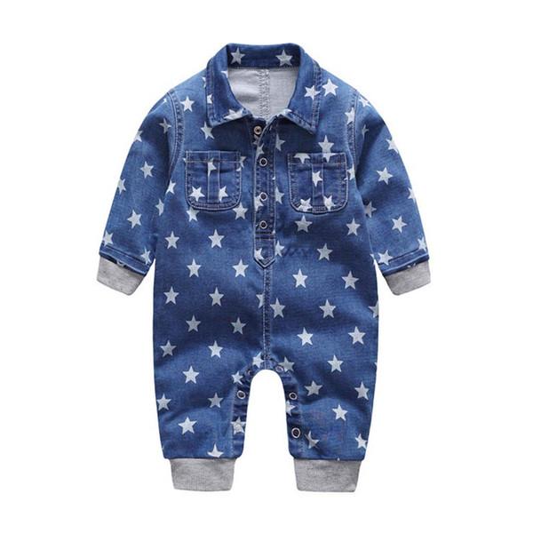 2018 morbido pagliaccetto del bambino del denim stelle vestiti infantili neonato tuta neonati ragazzi ragazze costume cowboy jeans moda bambini