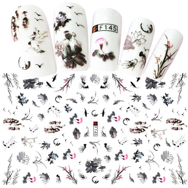 Satın Al 1 Levhalar Zarif çin Mürekkep Boyama Stilleri 3d Nail Art Sticker Karışık Erik çiçek Kuş Tasarımlar Yapıştırıcı Zanaat çivi D 2043