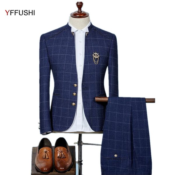 YFFUSHI 2018 2 Pieces Men Suit Men Stand Collar Navy Suits Classic Plaid Design Tuxedo Wedding Suits for Design Slim 6XL