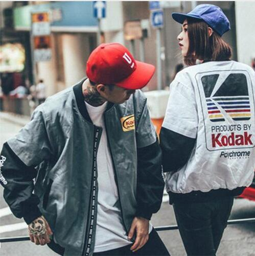 Japonés estilo Hip Hop MA1 chaqueta bomber Harajuku piloto de calle impresión kodak Chaquetas Hombres Mujeres abrigo marca ropa prendas de vestir exteriores