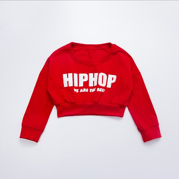 Kızlar Kırmızı Gevşek Uzun Kollu Balo Salonu Caz Hip Hop Dans Kostüm Çocuk Modern Dans Giyim Giysi Giymek için Üstleri Gömlek Kırpılmış