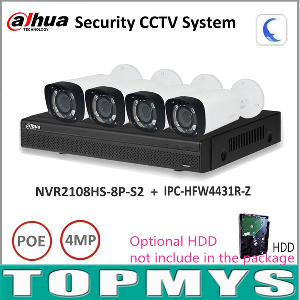 Dahua Full HD IP Camera nvr Kit NVR2108HS-8P-S2 Motorized Zoom Camera IPC-HFW4431R-Z P2P Home security Surveillance System