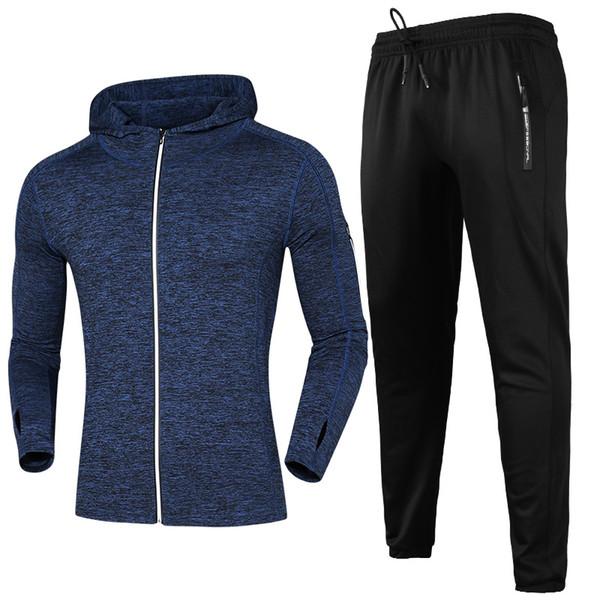 Conjuntos de manga larga para correr Hombres con capucha Deporte Traje de  running Baloncesto transpirable Ropa 8826606a866df