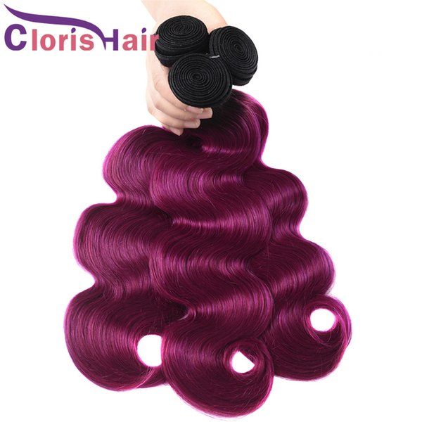Fashionable 1b Purple Ombre Hair Extensions Cheap Body Wave Virgin Brazilian Human Hair Ombre Weaves Top Quality Braiding Retail 3 Bundles