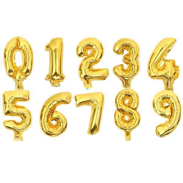 32 Inch Helium Air Number Balloon Letter Shaped Gold Inflatable Balloons Birthday Wedding Decoration Event Party Supplies