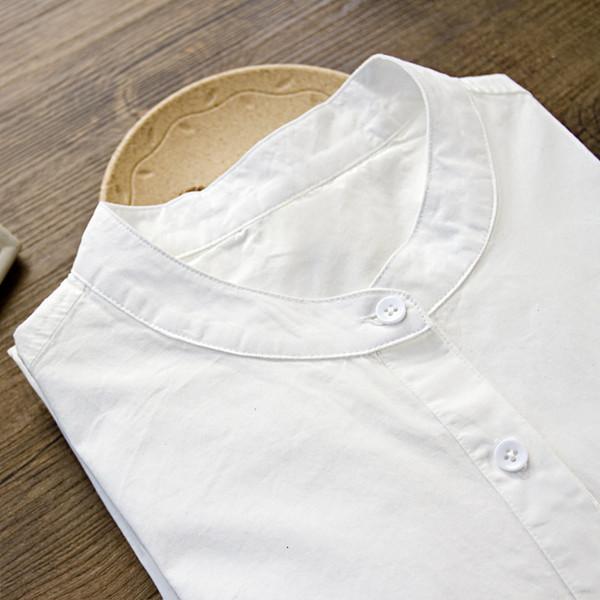 cotton stand-collar white shirt plus velvet warmth literary small fresh wild slim shirt women winter solid color blouse mz2280
