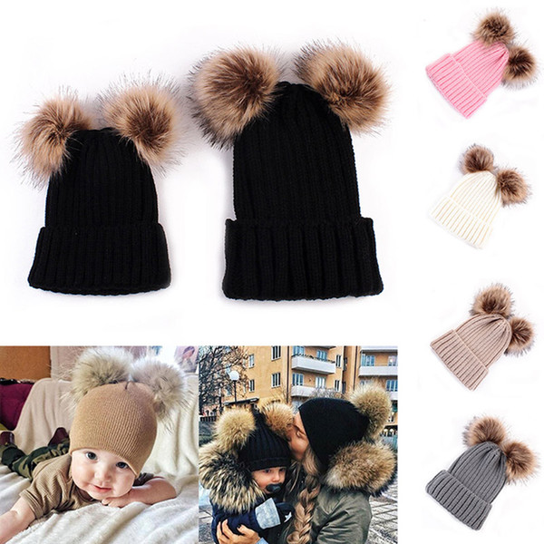 Cute Winter Mom Women Baby Kids Crochet Knitted Hat Caps Children Girl Boy Wool Fur Bobble Ball Pompom Beanies Hats pompom