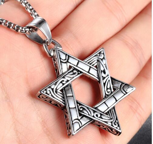 Wholesale- Vintage Jewelry for men's Biker Stainless Steel Fashion David Star Necklace Pendant with rolo Chain 24''