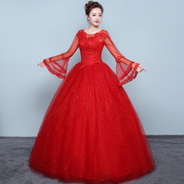 Compre Vintage O Cuello Vestido De Novia Rojo Encaje Dorado Elegante Talla Extra Manga Larga Apliques Vestidos De Novia Vestido De Festa A 6262 Del