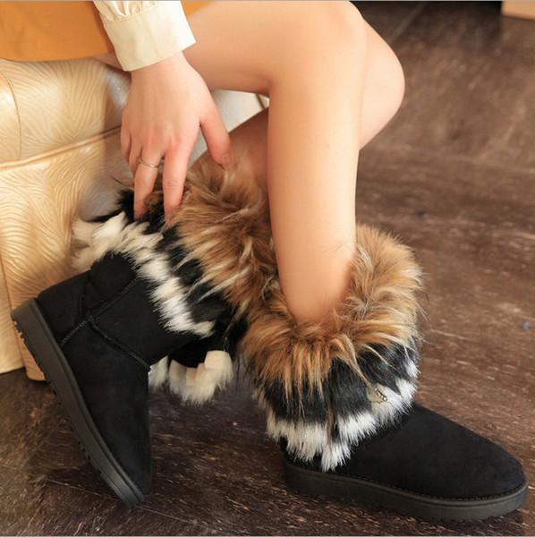 Femmes Cheville Bottes Nouvelle Mode Étanche Wedge Plate-Forme D'hiver Chaud Neige Bottes Chaussures pour Femme Renard De Fourrure Décoration Plus La Taille
