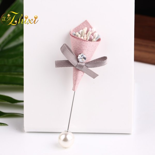 ZHIXI Fine Pearl Jewelry Real Freshwater Pearl Brooches Flower Brooch Pin For Women White 9-10MM Trendy Anniversary Gift B148
