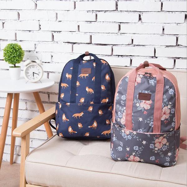 Fresh Waterproof Polyester Women Backpack flamingos School Bag Cute foxes Ball Pattern Printing Girls School Bags Knapsack