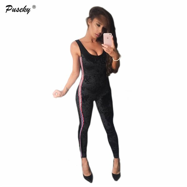 Fashion ladies Casual Striped Jumpsuits womens Sexy velvet Jumpsuit Tracksuits Sleeveless long pants Rompers One piece Jumpsuits