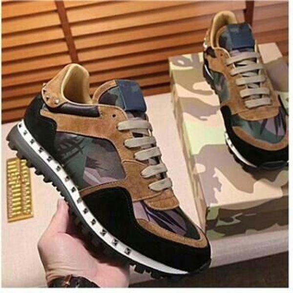 2018 hombres mujeres diseñador remaches marca de camuflaje de gamuza tachonada zapatos zapatillas de deporte de cuero genuino unisex casuales zapatos para caminar tamaño 15613