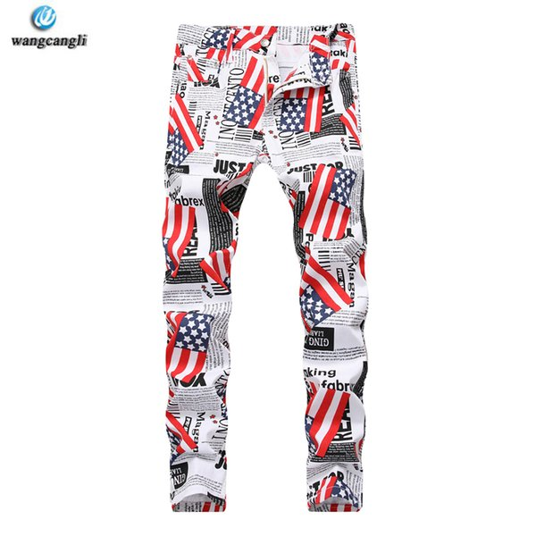 mens 2018 fashion jeans American flag print jeans stretch slim casual five-pointed star big size pants for men Camouflage
