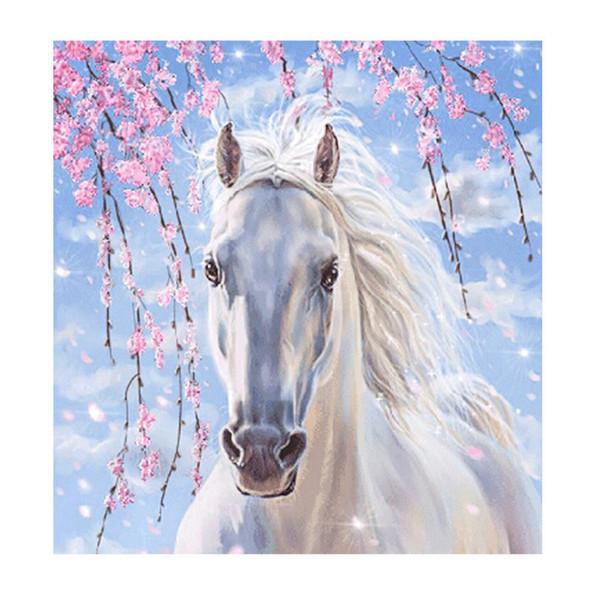 5D Diy Elmas Boyama Kitleri Beyaz At Çapraz Dikiş Nakış İğne Tuval Resim Sergisi Çerçevesiz Nefis Çocuklar Hediye Için 11lx jj