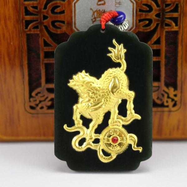 Natural Hetian Jade uomini donne collana a catena corda pendente verde nero 24 k oro Kirin pendenti per uomo donna gioielli unisex