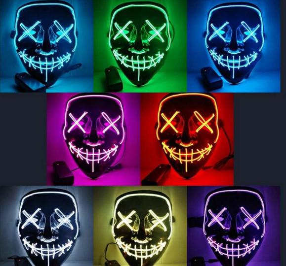 Led halloween gho t ma k the purge movie wire glowing ma k ma querade full face ma k halloween co tume party gift