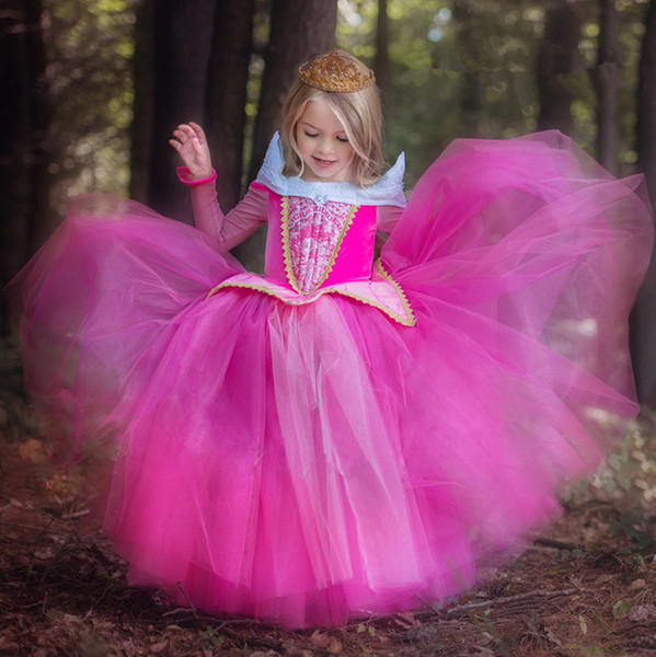 TOP Fashion Children Girls Pink Long Sleeve Princess Dress Girls Birthday party dance dress Performance Costume prom dress D20