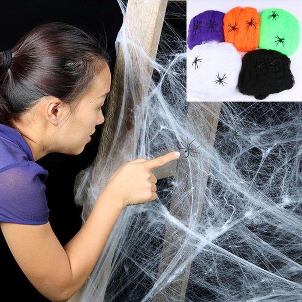 Halloween Scary Party Scene Props White Stretchy Cobweb 100g Spider Web Horror Halloween Decoration For Bar Haunted House With 30 Spider