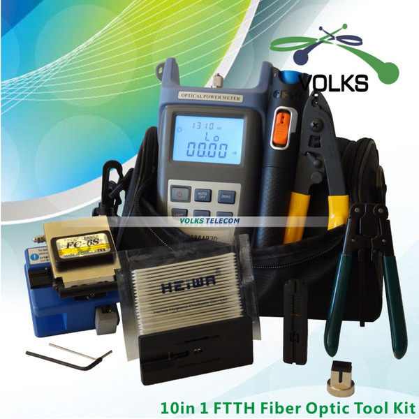 10 Em 1 Kit de Ferramentas de Fibra Óptica FTTH com FC-6S Fibra Cleaver e Medidor de Potência Óptica 10Mw Visual Fault Locator