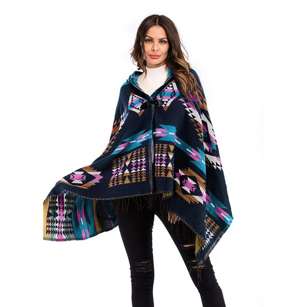 Europe and America autumn winter Ladies Top Hooded plus Size Ethnic Wind Cape Shawl Geometric Pattern kniting Fringe Coat Women