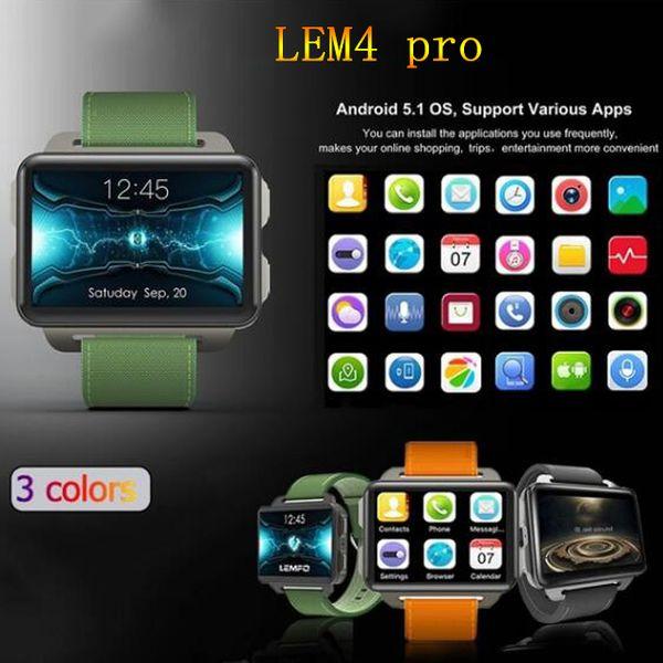 5e8d71754581 LEMFO LEM4 Pro Android Pantalla grande Reloj inteligente Soporte telefónico GPS  Tarjeta SIM MP4 Bluetooth WIFI