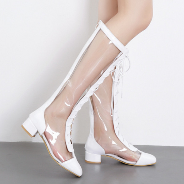 New Arrival Sexy PVC Transparent Gladiator Sandals Clear Chunky Sandals Women Lace Up Boots Sandal Shoes