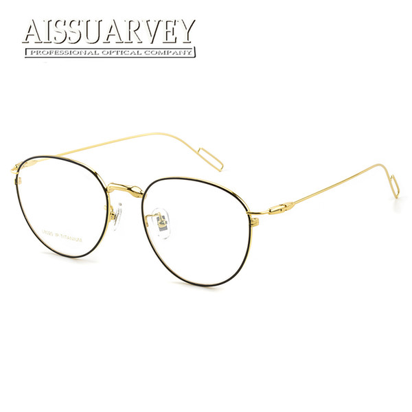e86957d7039 Pure Titanium Round Vintage Optical Eyeglasses Frame Brand Designer Top  Quality Eyewear Women Men Fashion Big Light Retro Glass