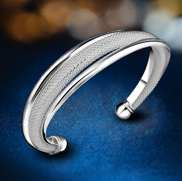 lowest price! Crazy price women lady hot sale 925 Sterling Silver fashion jewelry charm mesh bangle bracelet B21