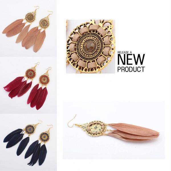 6 colores estilo étnico de la vendimia círculo de moda pendientes de cadena de la pluma borla hoja de la pluma cuelga el pendiente Eardrop joyería de las mujeres DHL H52R libre