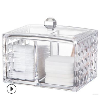Acrylic Cosmetics Storage Box Clear Makeup Box Transparent Cotton Pads Container Fashion Portable Jewelry Display Organizer