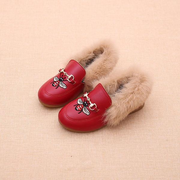 Çocuk faux fur ayakkabı kış kızlar arılar nakış prenses ayakkabı moda yeni çocuklar kadife PU deri prenses ayakkabı A01140