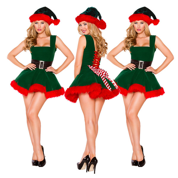 Women Clothes Christmas Party Dress Green Red Short Length Sexy Dress Hot Santa Claus Cosplay Clothing Free Shipping