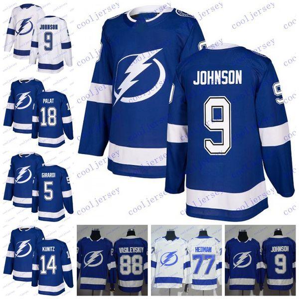 best authentic e734b 82970 2019 2018 Tampa Bay Lightning ##9 Tyler Johnson 14 Chris Kunitz 18 Ondrej  Palat 5 Dan Girardi Hockey Jerseys 25th Patch Jerseys Men Women Youth From  ...