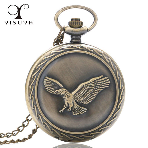 Retro Eagle Men Quartz Pocket Watch Vintage Full Hunter Big Case Movement Watch with Necklace Chain for Boy Gifts