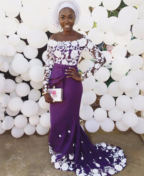 Off The Shoulder Purple Evening Dresses Floral Lace Satin Mermaid Evening Dresses African Aso Ebi Prom Dresses Sweep Train