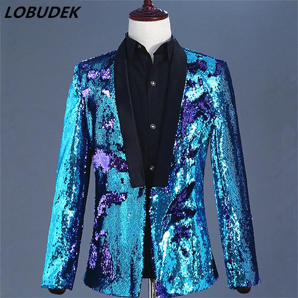 Acheter Concert Vocal Mode Hommes Violet Bleu Paillettes Blazers Double Couleur Paillettes Veste Manteau Prom Party Homme Chanteur Hôte Stade Outfit