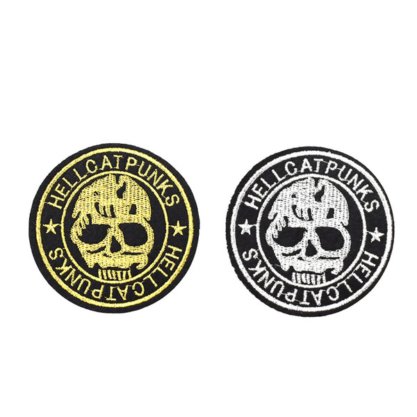 10 PCS Hello Punk Patch Badges for Men Sweater Ironing on Transfer Embroidery Skull Patch for Clothes Sewing Accessories for Trousers Jacket