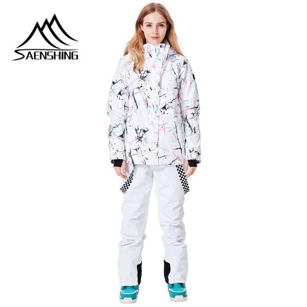 SAENSHING 2018 Ski Suit Women Waterproof Thermal Winter Snowboard Jacket+Pants Breathable Ladies Snowboarding Skiing Suit Set