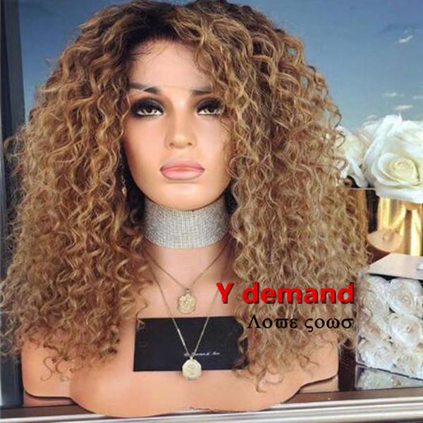 인간의 머리카락을 가발처럼 Ombre 아프리카 킨키 곱슬 가발 브라질의 전체 합성 가발 곱슬 검은 여성을위한