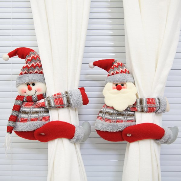 Lovely Santa Clause Snowman Curtain Buckle Christmas Decoration for Home New Year Party Decor Cloth Toys Table Decoration Dolls Y18102609