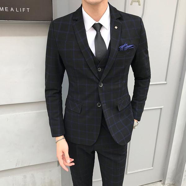 New 2018 Autumn Mens Suit (jacket+vest+trousers) England Style Plaid Casual Suit Jacket Male Fashion Wedding Goom Men