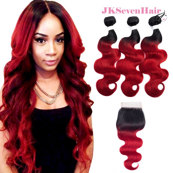 1B Red Body Wave Peruvian Virgin Human Hair Extension 3PCS With 4x4Inch Lace Closure Two Tone Red Brazilian Malaysian Indian Remy Hair Wefts