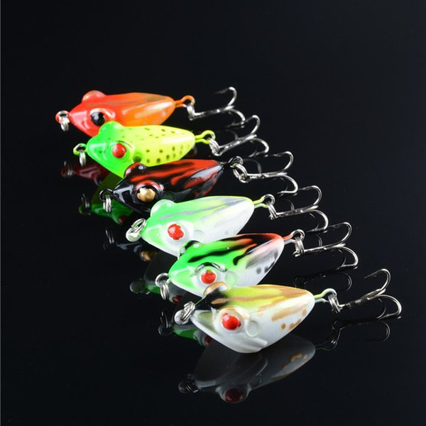 1pcs 6-color 4.2cm 6.5g Frog Plastic Hard Baits & Lures Fishing Hooks 6# Hook Artificial Bait Pesca Fishing Tackle Accessories
