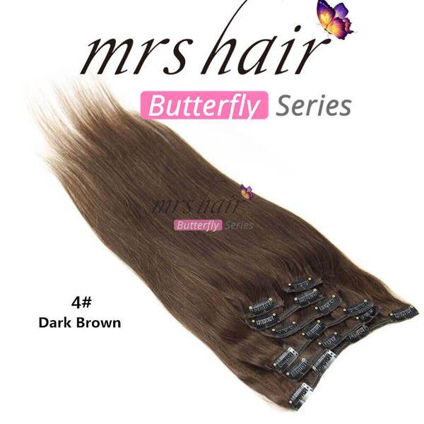 MRS 100% Бразильские Человеческие Волосы Прямой Клип В Расширениях 18 Дюймов Темно-Коричневый Человеческих Волос Плетение Уток 100 г / комплект Бесплатная Доставка
