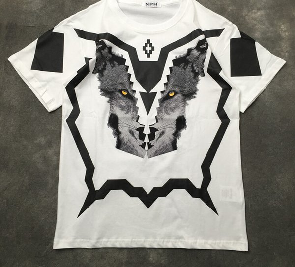 Fashion Tops Clothing Mens Marcelo Burlon 3D Wolf Print T-shirt Kanye West T Shirt Tee for Men
